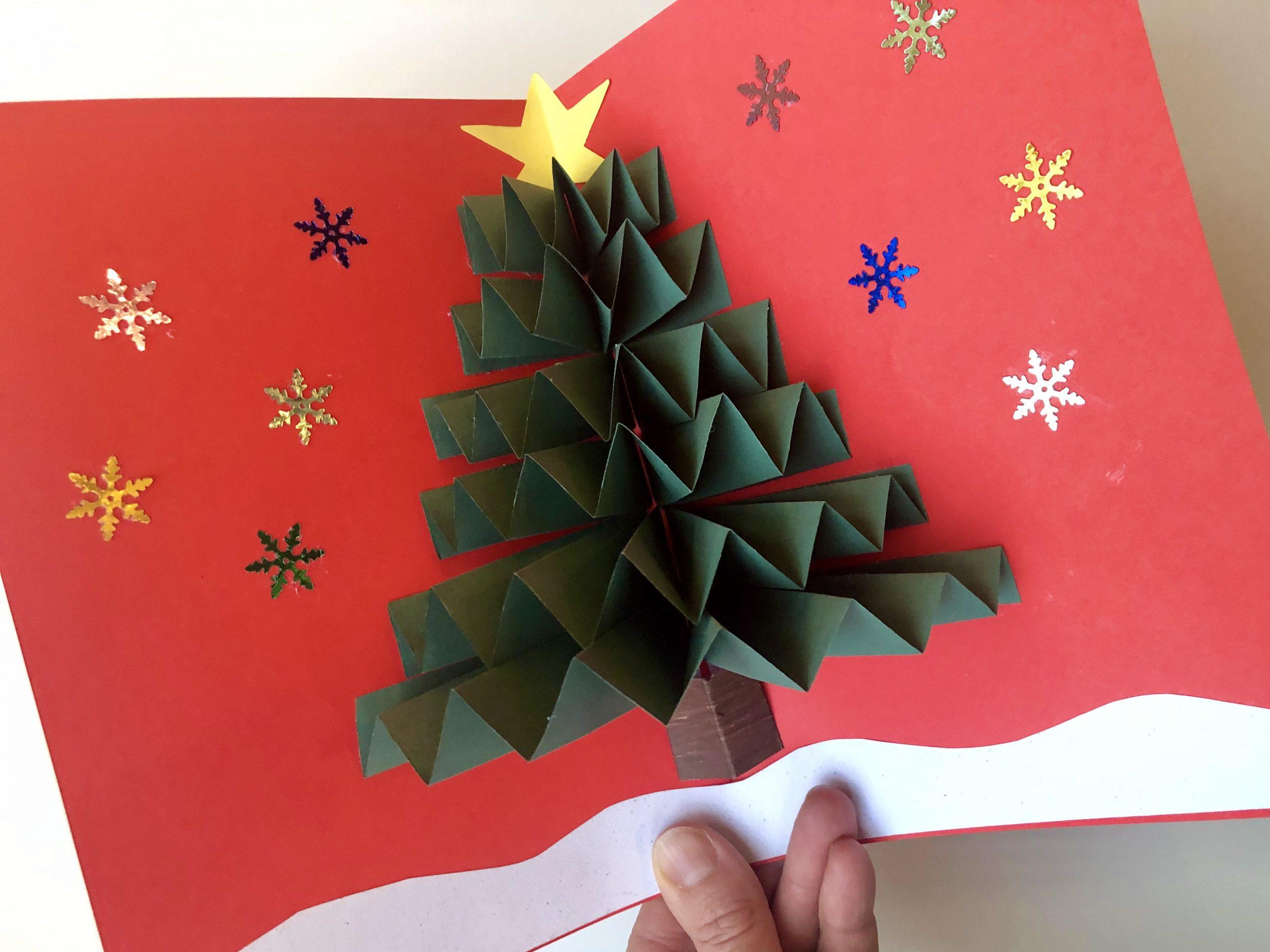 3D kerstkaart maken met kerstboom