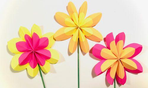 Papieren bloemen vouwen en knutselen diy stap voor stap