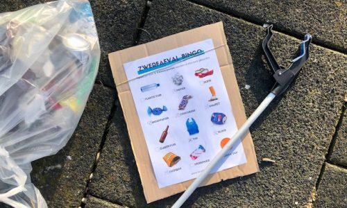Zwerf afval bingo maak je buurt schoner