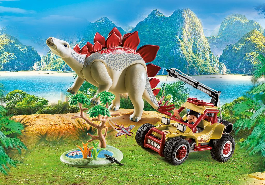 Playmobil speelgoed set dinosaurus en jeep