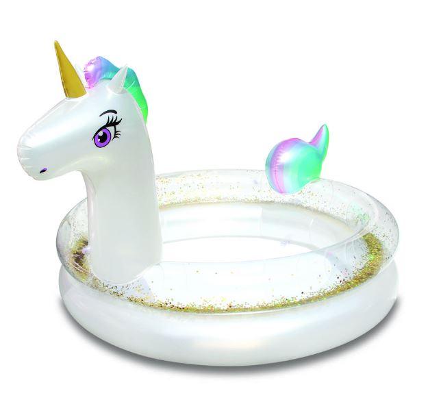Unicorn opblaas zwembad met glitters