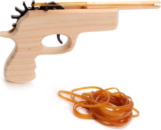Houten pistool om elastiek af te vuren