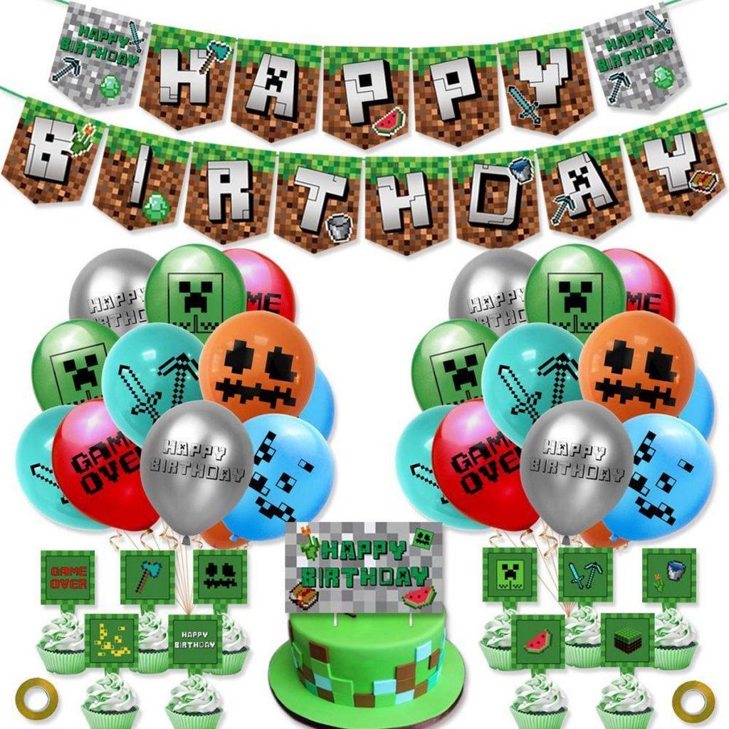 Verjaardagsset in thema minecraft